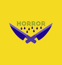 Flat icon on stylish background knives horror vector