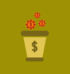 flat icon on stylish background money bag vector image