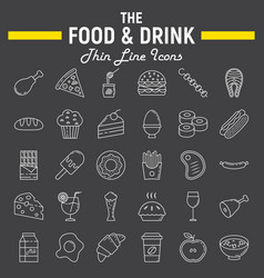 food and drink line icon set meal sign collection vector image