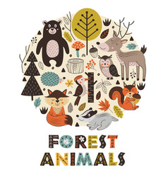 Forest animals in circle scandinavian style vector