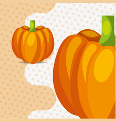 Fresh vegetable pumpkin on dots background vector