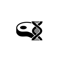 Gmo food genetic modified meat flat icon vector
