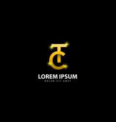 Gold letter t logo tc letter design with golden vector