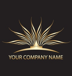 gold lotus logo vector image