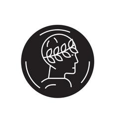 greek in a laurel wreath black concept icon vector image