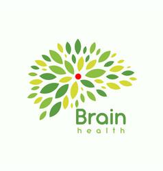 Green leaves brain logo concept psychotherapist vector