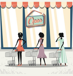 Group of women in shopping day style retro vector