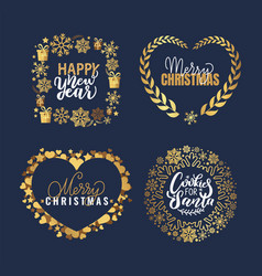 happy holidays and santa cookies merry lettering vector image