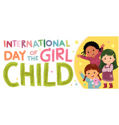 Horizontal banners international day of the girl vector
