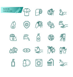 Hygiene and cleanliness thin line icons vector