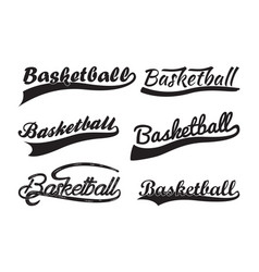inscription basketball with swooshes vector image