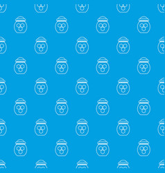 jar of honey pattern seamless blue vector image