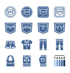 Jeans icon set vector