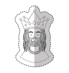 jesuschrist with crown character religious icon vector image