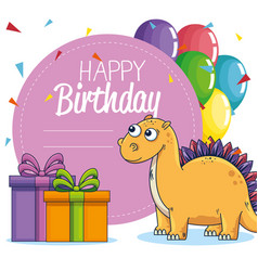 Label stegosaurus animal with presents and vector