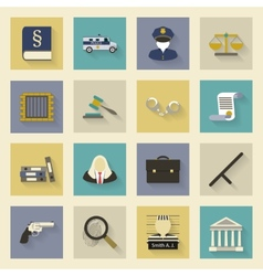 Law and justice flat icons set with shadows vector