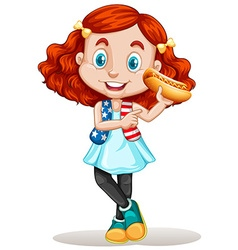 Little girl eating hotdog vector