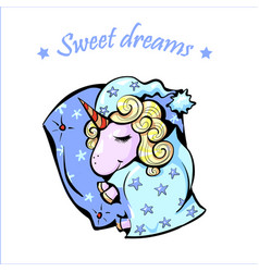Magical sweet dreams sleeping baby unicorn under vector