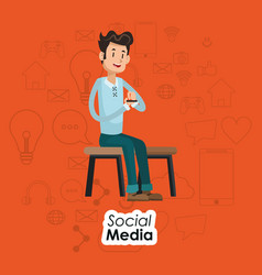 Man sitting on chair social media orange vector