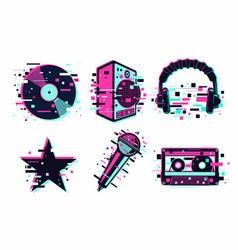 music icon set glitch audio sign vector image