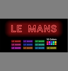 Neon name of le mans city vector