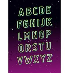Neon tube glowing font alphabet vector