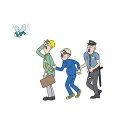 Office worker a pickpocket a policeman and a fly vector