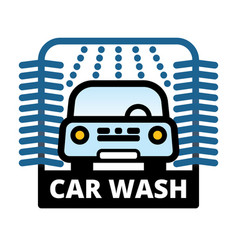 Passenger car at automatic car wash station vector