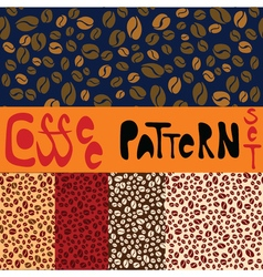 Pattern set with five coffee patterns vector