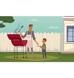 Picnic Barbecue Father Son Cartoon Poster vector