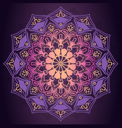 purple mandala ornamental pattern in dark vector image
