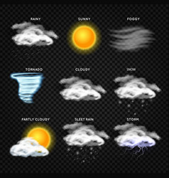 Realistic weather icons isolated on vector