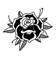 Rose in tattoo style design element for poster vector