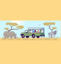Safari tour flat doodle people observing wild vector