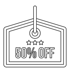 Sale tag 50 percent off icon outline style vector