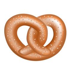 salt pretzel icon realistic style vector image