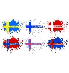 Scandinavian flags as spots vector