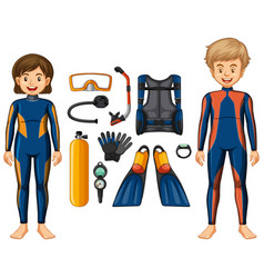 Scuba divers and different equipments vector