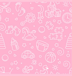seamless pattern baby objects toys accessories vector image