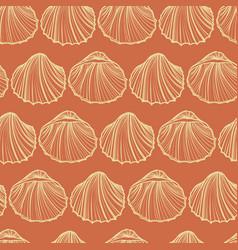 Seashells seamless pattern orange vector