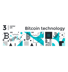 set abstract background bitcoin technology vector image