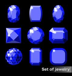 Set blue gems sapphire various shapes vector