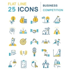 Set Flat Line Icons Business Competition vector image vector image