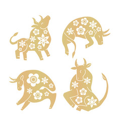 set golden ox with flowers silhouette vector image