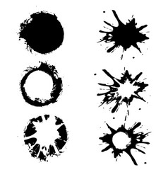 set of black hand-painted blots on white vector image
