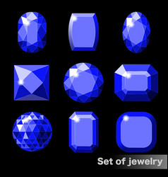 set of blue gems sapphire of various shapes vector image