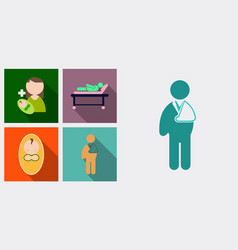 Set of medecine icons patient baby mother with vector
