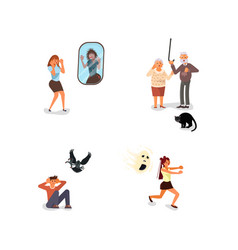 Set scared people vector