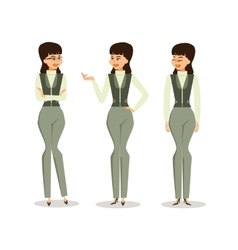 Set successful business woman in different poses vector