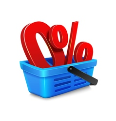 shopping cart with a zero percent within the baske vector image